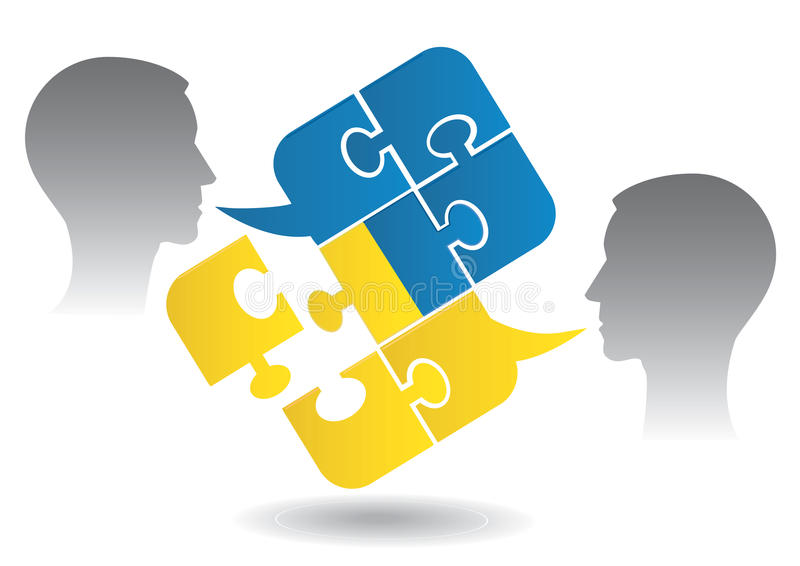 Ukrainian dialog. Two men and Puzzle bubble talk with a Ukrainian flag symbolizing Ukrainian conversation or bad political dialog and conflict. Vector royalty free illustration