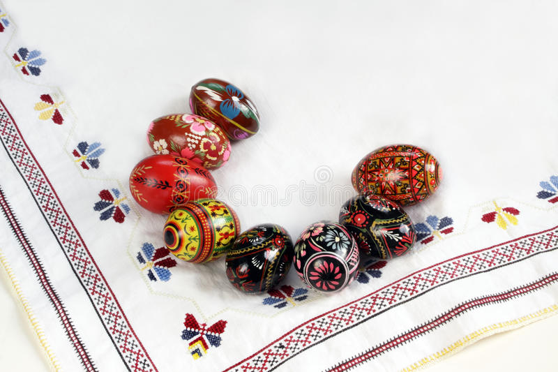 Ukrainian Easter Eggs Decorated,. Isolated on white, on traditional embroidery stock images