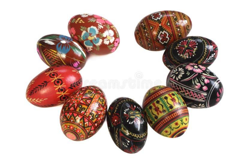 Ukrainian Easter Eggs isolated on white. Ukrainian Easter Eggs Decorated, isolated on white stock image