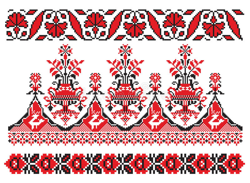Ukrainian embroider. There is a scheme of ukrainian pattern for embroidery vector illustration