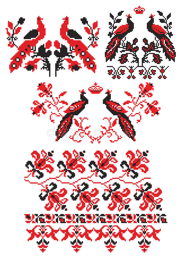 Ukrainian embroider birds. There is a scheme of ukrainian pattern for embroidery vector illustration