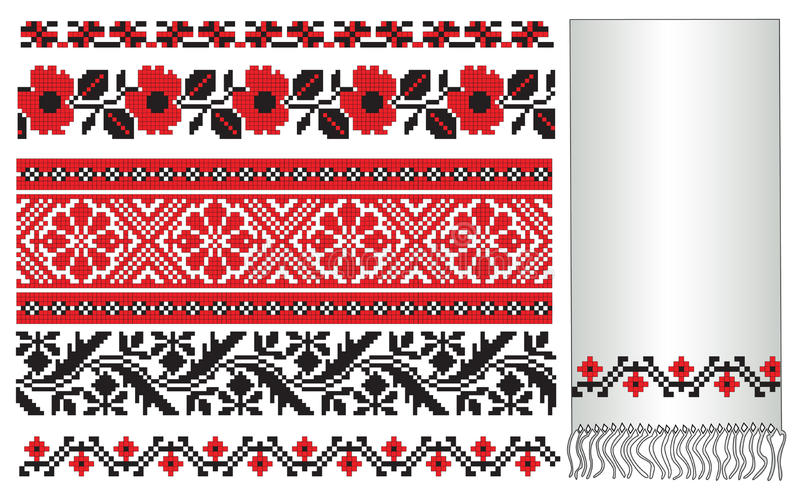Ukrainian embroider elements. There is a scheme of ukrainian pattern for embroidery stock illustration