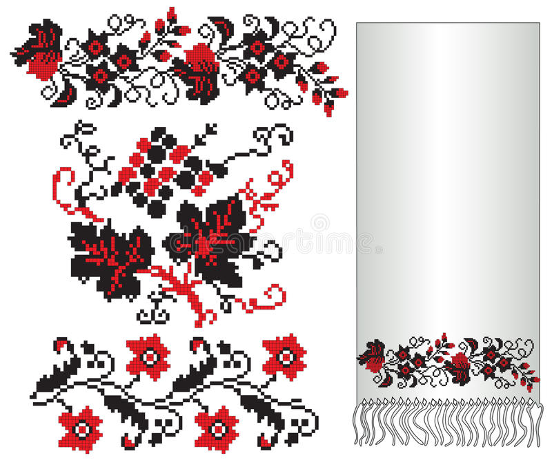 Ukrainian embroider flower grape. There is a scheme of ukrainian pattern for embroidery vector illustration