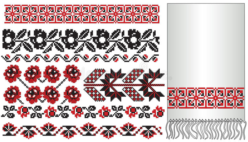 Ukrainian embroider flowers vector illustration