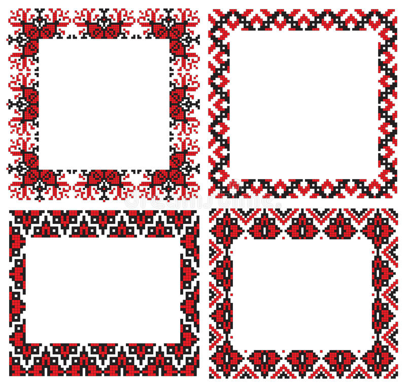 Ukrainian embroider frames vector illustration