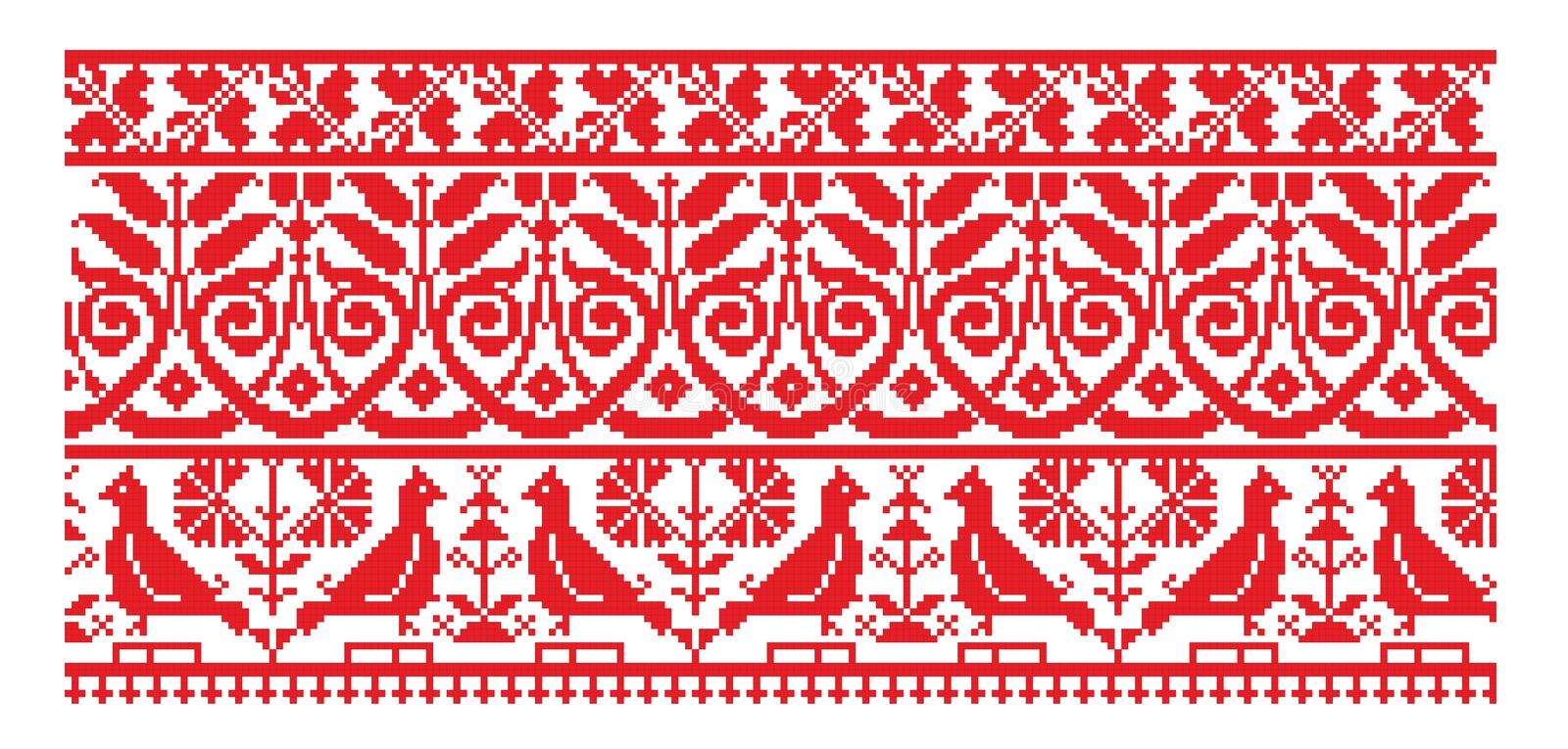 Ukrainian embroider line pattern vector illustration