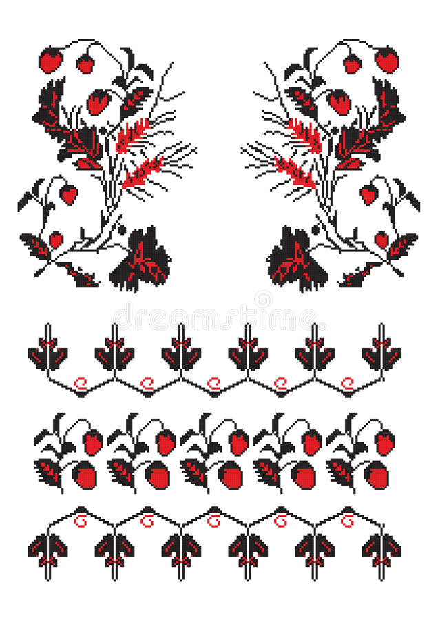Ukrainian embroider strawberry pattern vector illustration