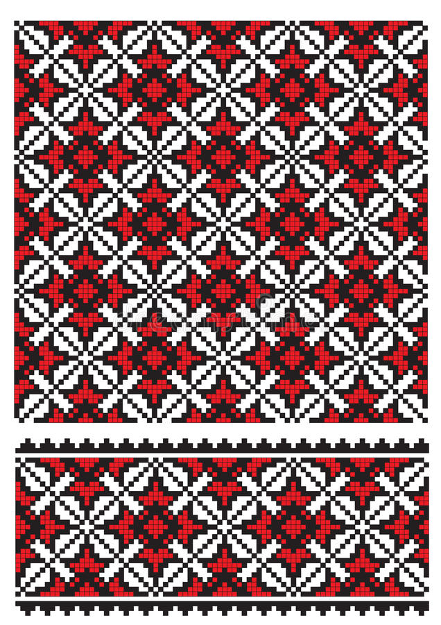 Ukrainian embroider texure. There is a scheme of ukrainian pattern for embroidery vector illustration