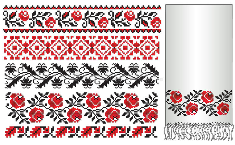 Ukrainian embroider towel. There is a scheme of ukrainian pattern for embroidery vector illustration