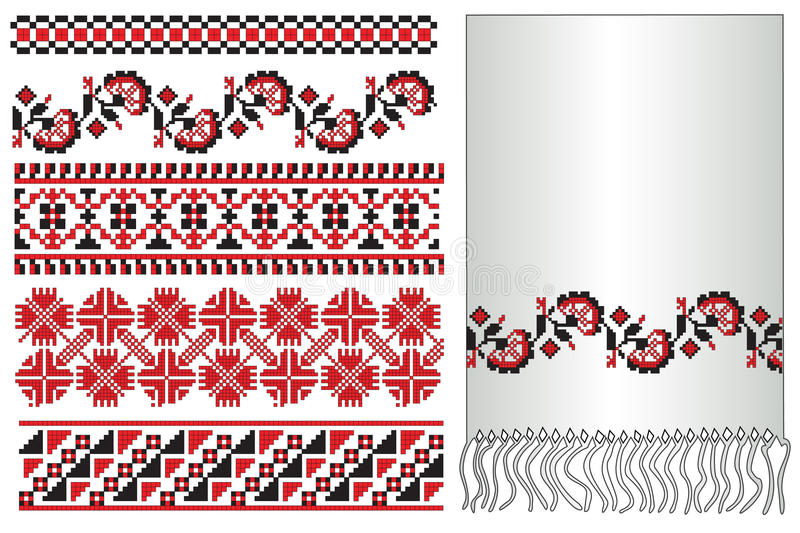 Ukrainian embroider towel. There is a scheme of ukrainian pattern for embroidery royalty free illustration