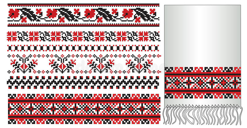 Ukrainian embroider towel pattern. There is a scheme of ukrainian pattern for embroidery vector illustration