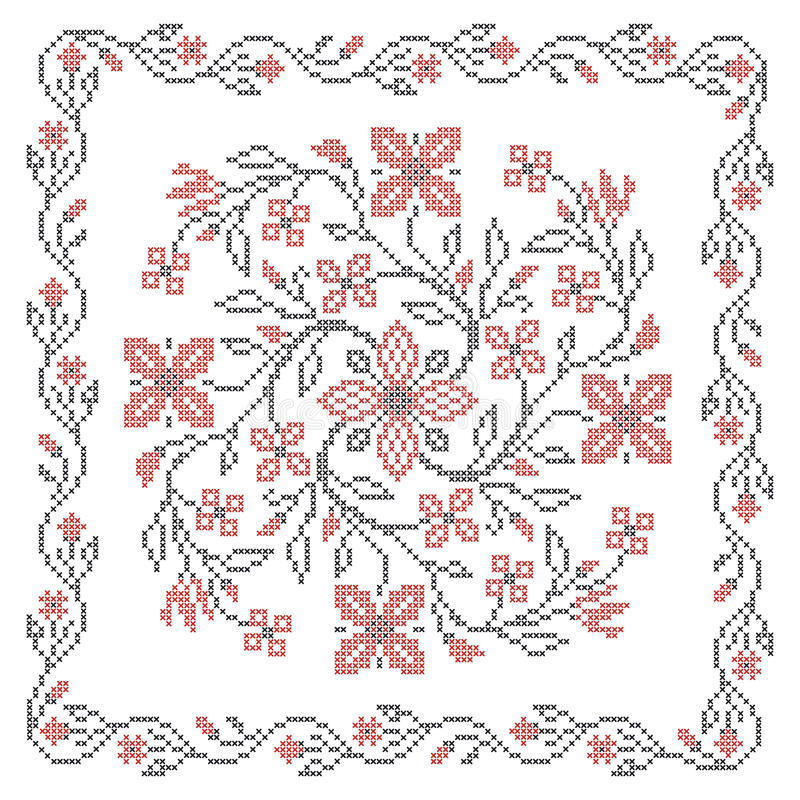 Ukrainian embroidery. Cross stitching embroidery in traditional Ukrainian ethnic style, vector illustration vector illustration