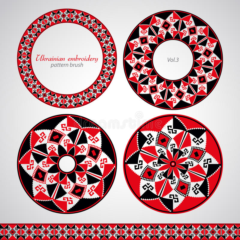 Ukrainian embroidery brush set. Traditional ukrainian embroidery for creative use royalty free illustration
