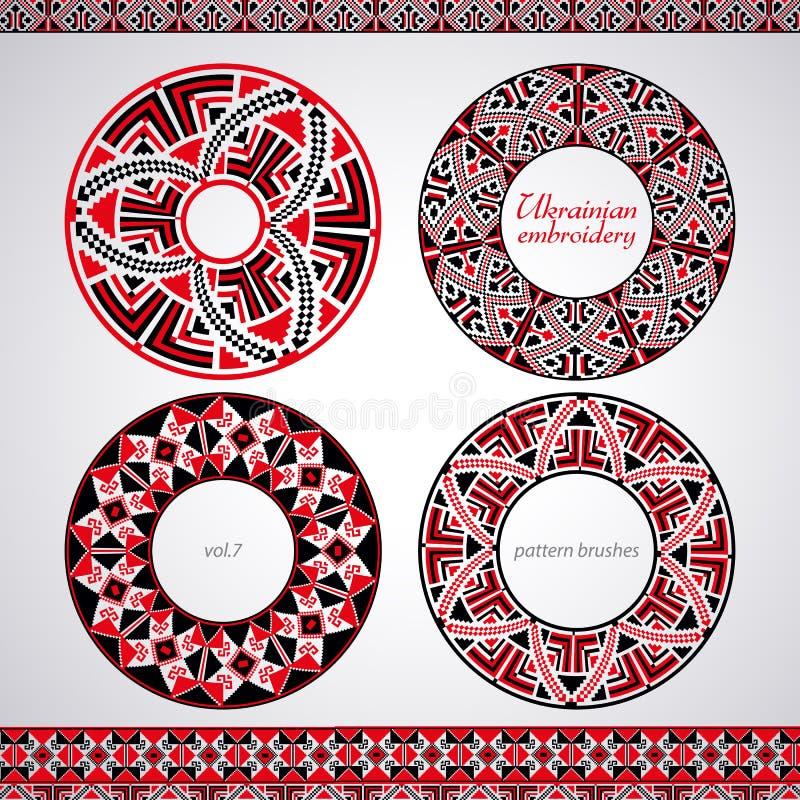 Ukrainian embroidery brush set. Traditional ukrainian embroidery for creative use stock illustration