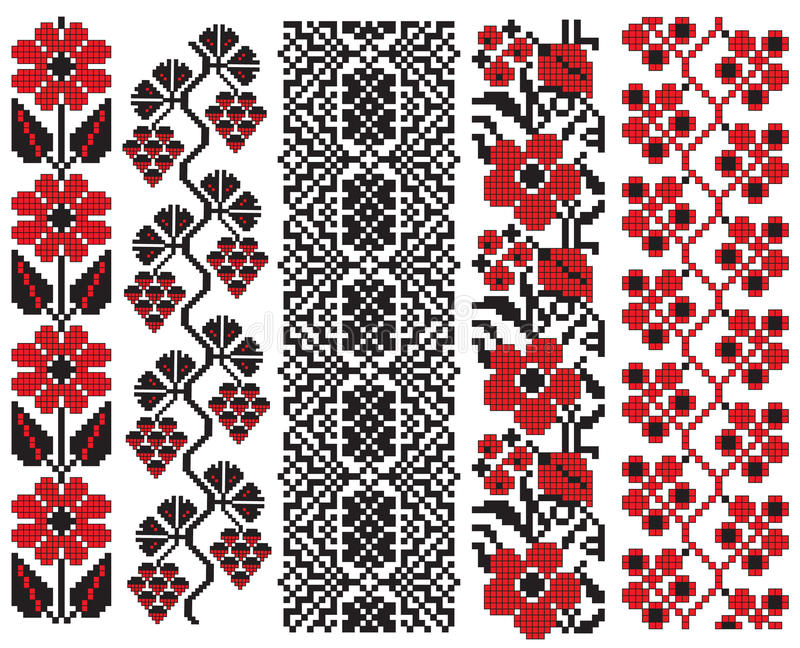 Ukrainian embroidery flower elements. There is a scheme of ukrainian pattern for embroidery vector illustration
