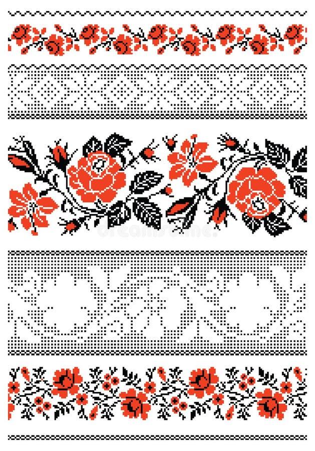 Ukrainian embroidery ornament. Vector illustrations of ukrainian embroidery ornaments, patterns, frames and borders stock illustration