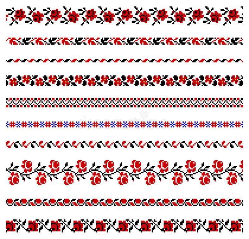 Ukrainian embroidery ornament. Vector illustrations of ukrainian embroidery ornaments, patterns, frames and borders vector illustration