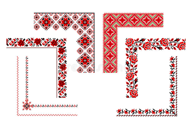 Ukrainian embroidery ornament. Vector illustrations of ukrainian embroidery ornaments, patterns, frames and borders royalty free illustration