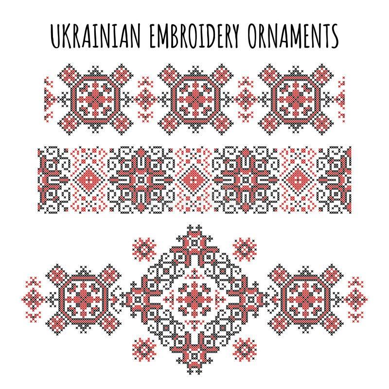Ukrainian embroidery ornaments set stock illustration