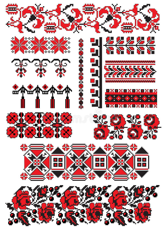 Ukrainian embroidery pack. There is a scheme of ukrainian pattern for embroidery stock illustration