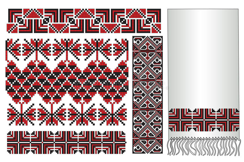 Ukrainian embroidery towel. There is a scheme of ukrainian pattern for embroidery vector illustration
