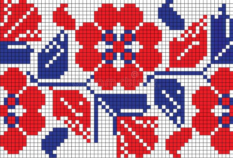 Ukrainian embroidery. Vector pattern with embroidery pattern in old Ukrainian style. National Ukrainian motifs, Polesie, Chernihiv oblast vector illustration