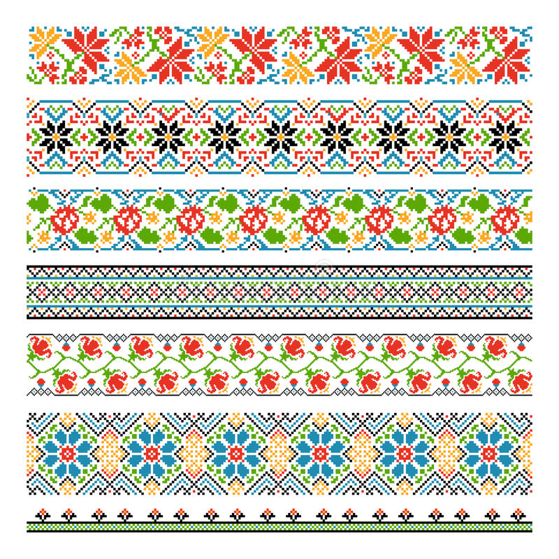 Ukrainian ethnic national border patterns for stock illustration