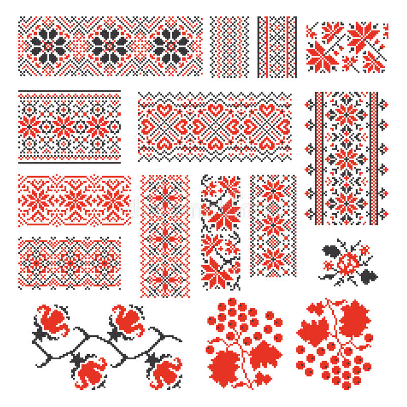 Ukrainian ethnic national seamless patterns vector royalty free illustration