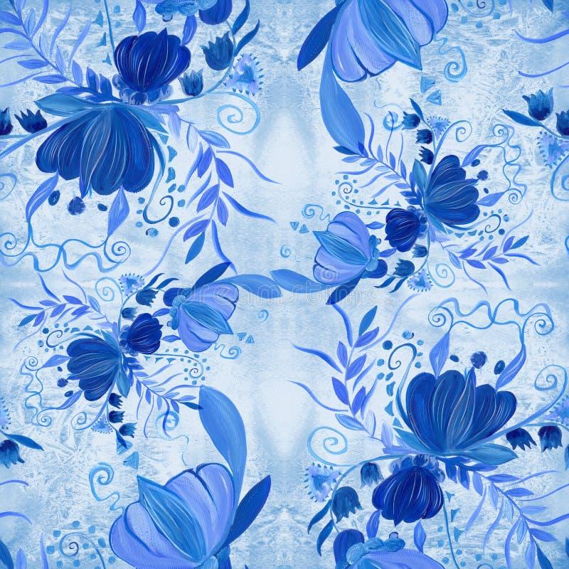 Ukrainian ethnic painting. Petrikovskaya painting. Flower composition. Stylized flowers.Seamless background. stock illustration
