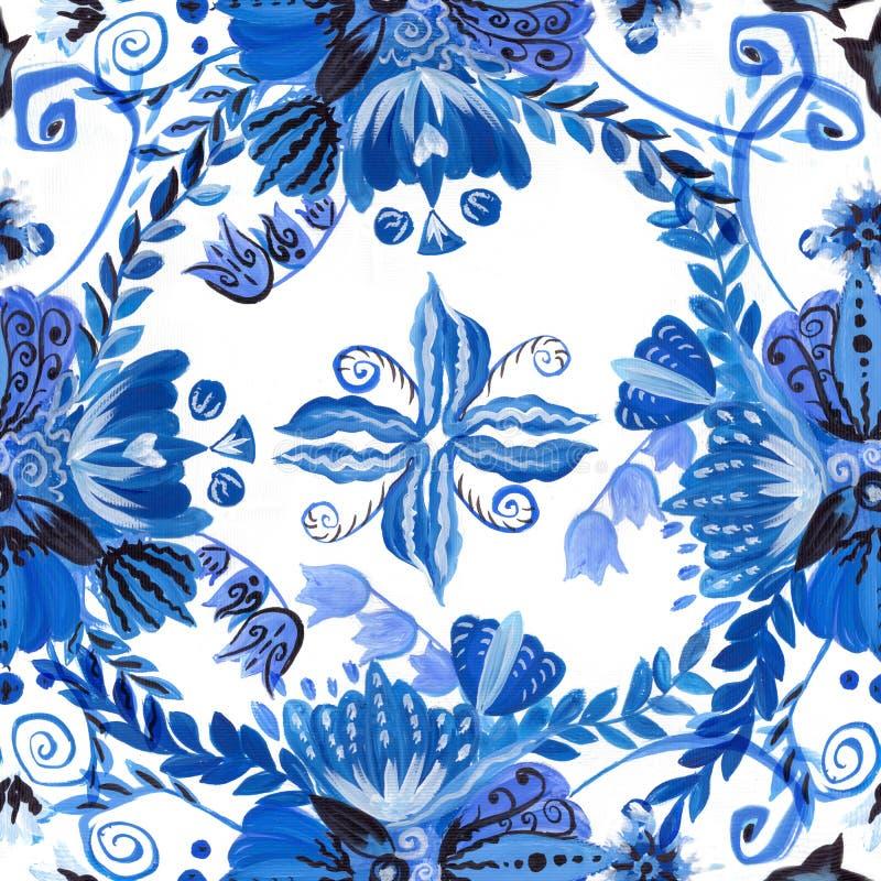 Ukrainian ethnic painting. Petrikovskaya painting. Flower composition. Stylized flowers.Seamless background. royalty free illustration