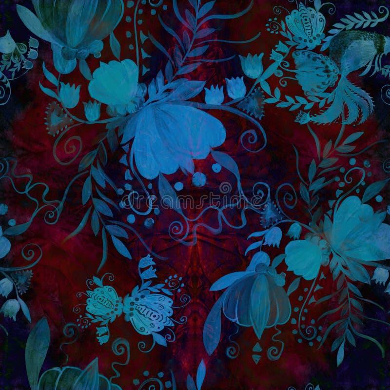 Ukrainian ethnic painting. Petrikovskaya painting. Flower composition. Stylized flowers.Seamless background. vector illustration