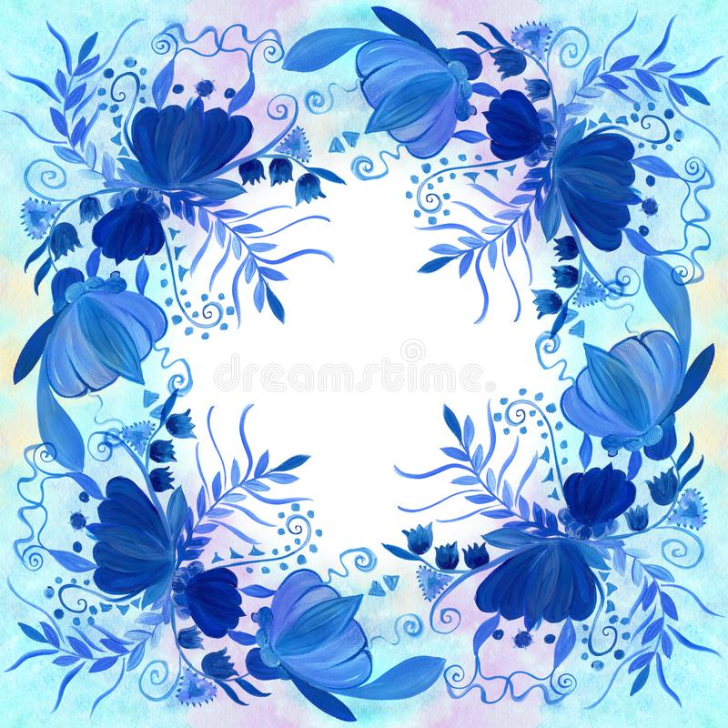 Ukrainian ethnic painting. Petrikovskaya painting. Flower composition. Stylized flowers. stock illustration