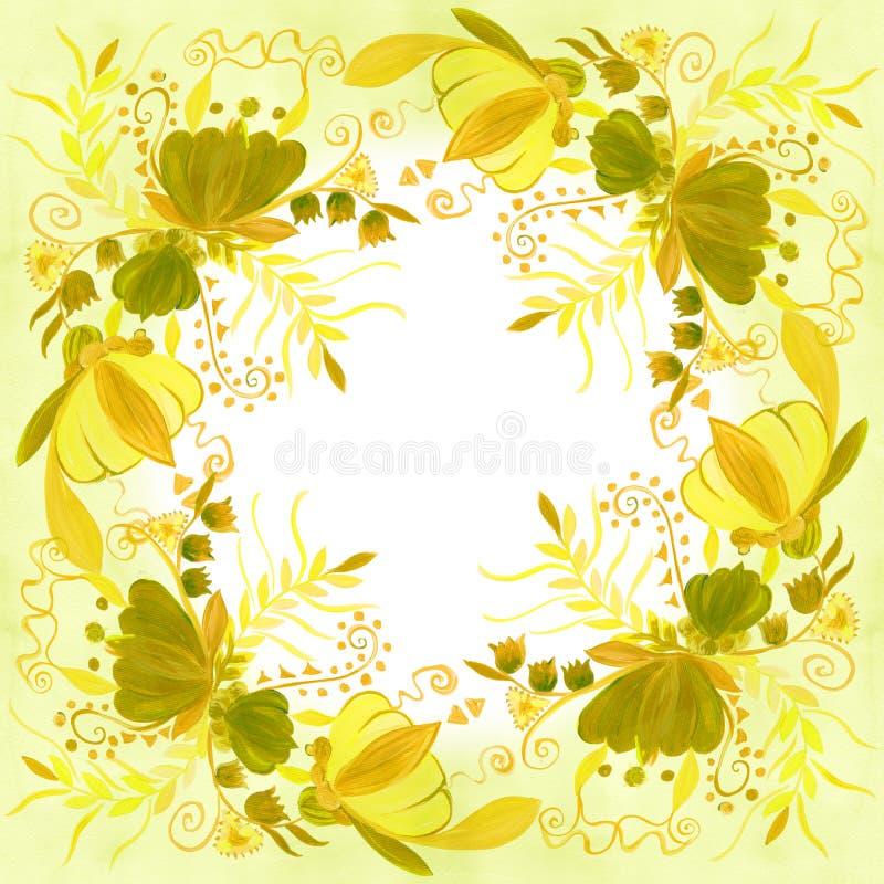 Ukrainian ethnic painting. Petrikovskaya painting. Flower composition. Stylized flowers. vector illustration