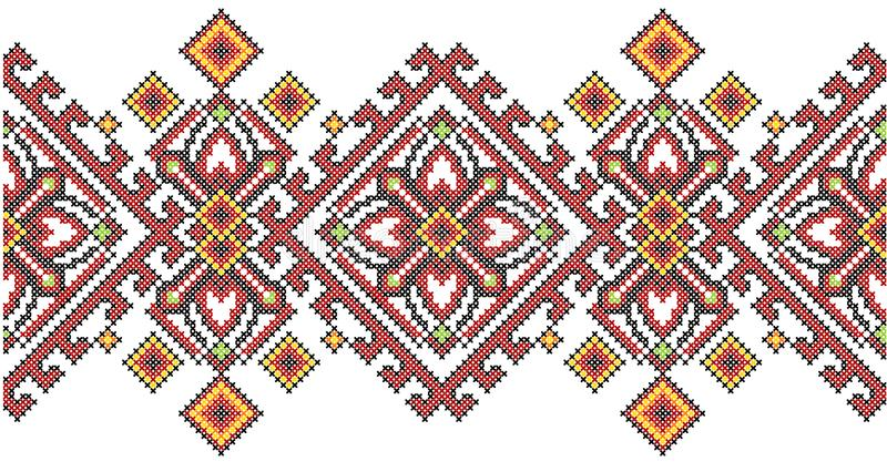 Ukrainian ethnic style cross stitch embroidery geometric pattern. stock illustration