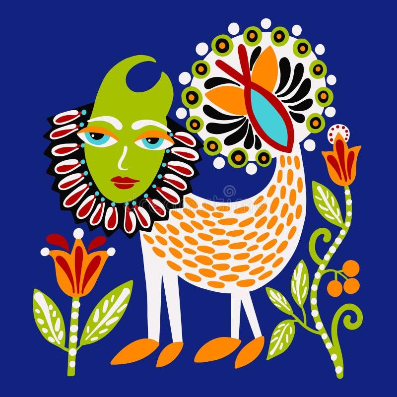 Ukrainian ethnic traditional painting of fantasy animal, original hand drawing. Vector illustration stock illustration