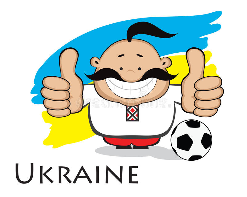 Ukrainian fan. Euro 2012 design. Smiling cartoon man (cossack)in ukrainian traditional clothes with soccer ball showing thumbs up. Ukrainian flag in background vector illustration