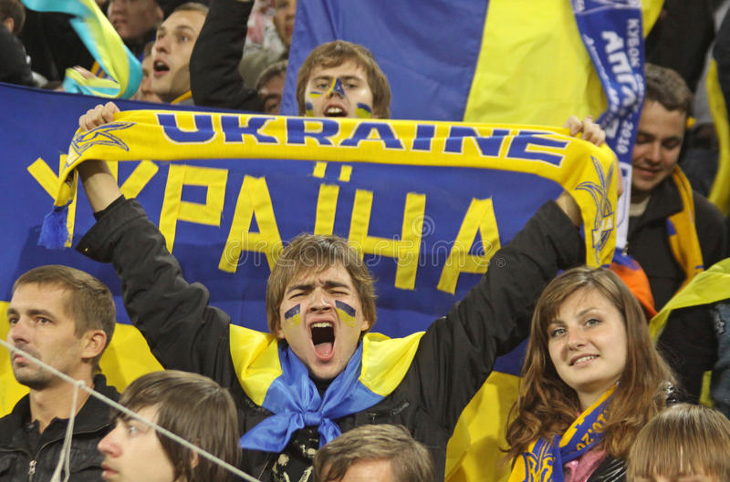 Ukrainian fans react stock photos