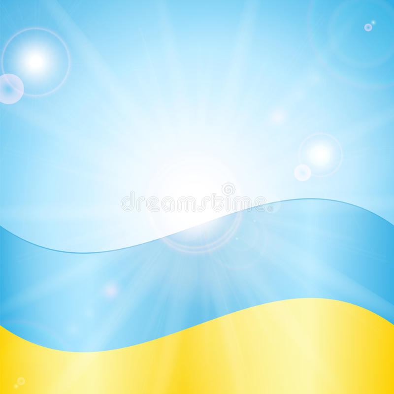 Ukrainian flag. On a background of sky and sun stock illustration