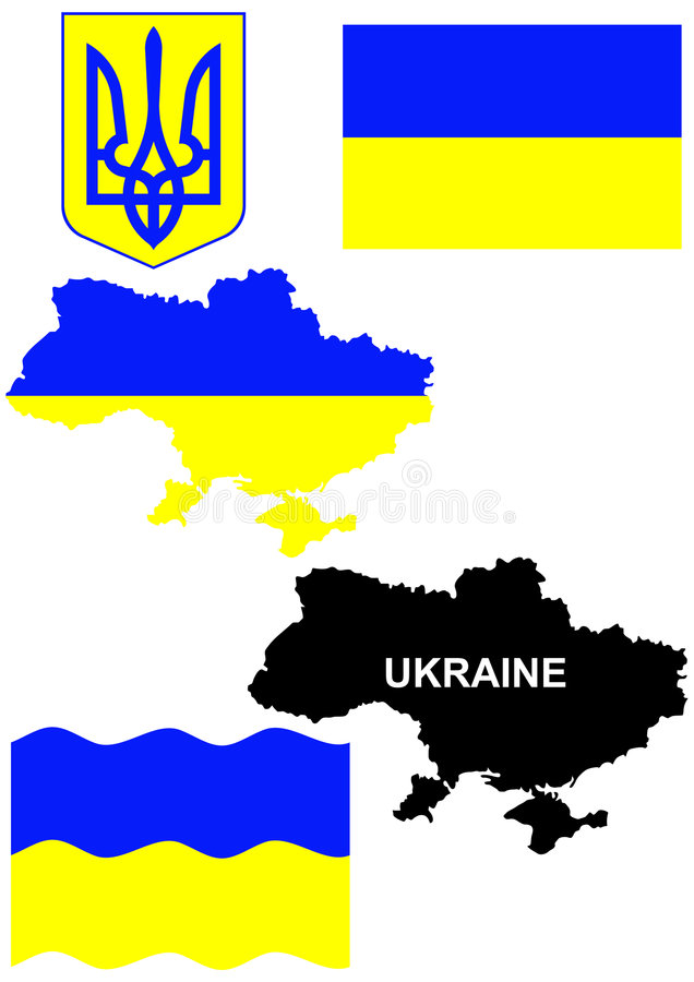 Ukrainian flag on country map illustration. Isolated illustration of Ukrainian flag,coat of arms and country map vector illustration
