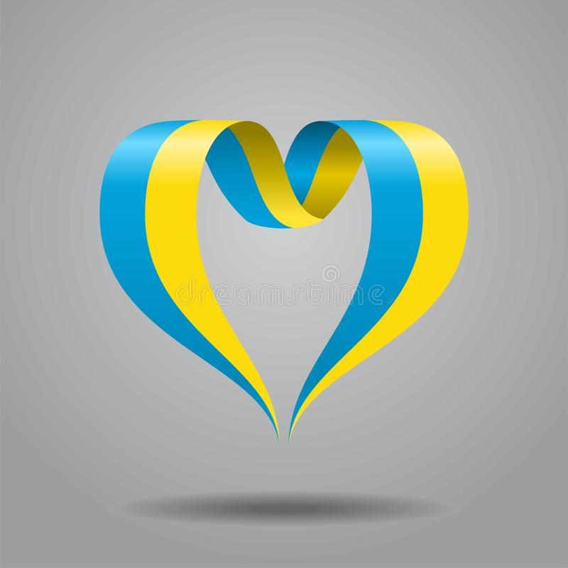 Ukrainian flag heart-shaped ribbon. Vector illustration. vector illustration