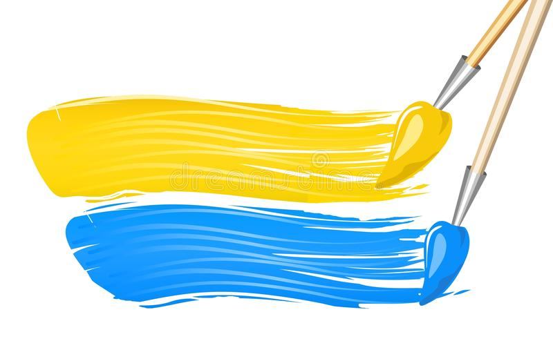 Ukrainian flag. Painted by two brushes vector illustration