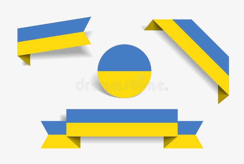 Ukrainian flag stickers and labels. Vector illustration. vector illustration