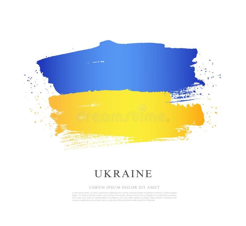 Ukrainian flag. Vector illustration on white background. Brush strokes drawn by hand. Independence Day of Ukraine vector illustration
