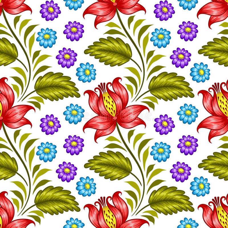 Ukrainian floral pattern. Floral seamless pattern in ukrainian national style. Vector Illustration royalty free illustration