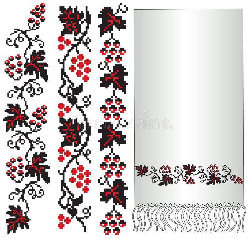 Ukrainian folk embroider grapes vector illustration
