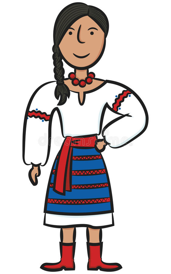 Ukrainian Girl. Cute Ukrainian Girl Isolated On White vector illustration