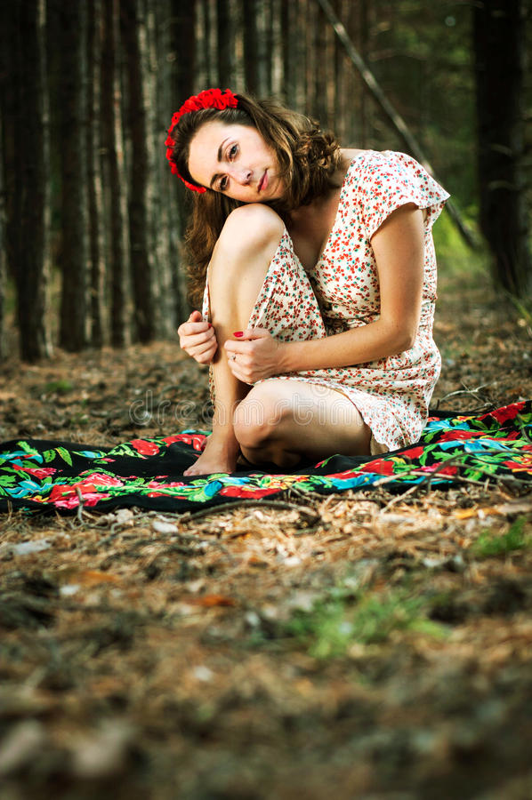 Ukrainian girl in the forest stock photography