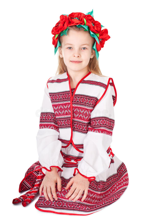 Ukrainian girl in national costume. Portrait of joyful young Ukrainian girl in national costume. Isolated on white background stock photos