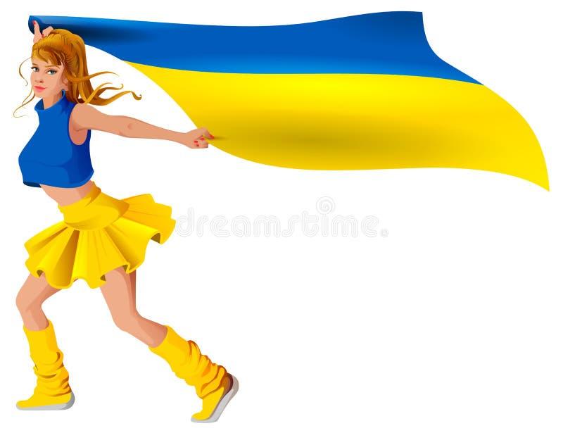 Ukrainian girl sport fan holding flag. Soccer goal win. Isolated on white vector cartoon illustration vector illustration