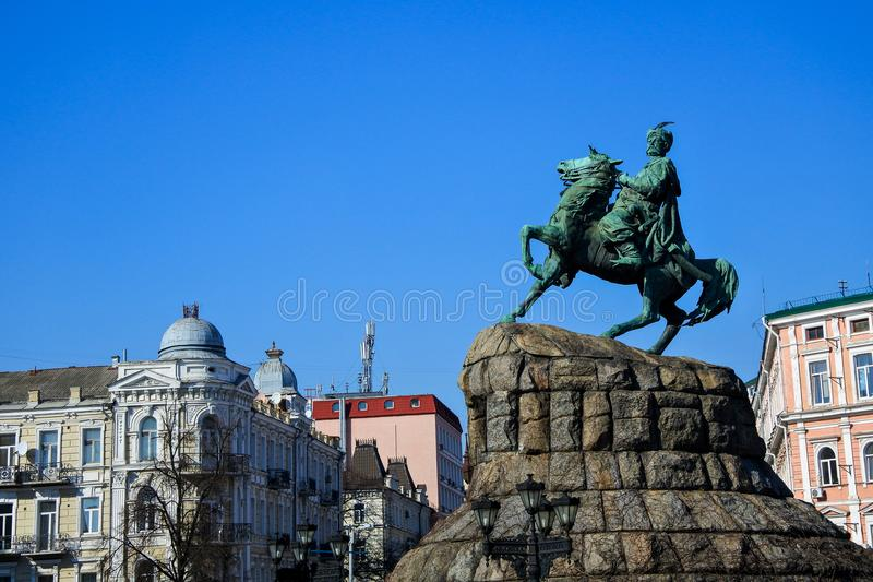 Monument of Bohdan Khmelnytsky. royalty free stock photo